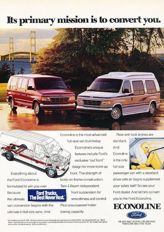 1993 Ford Econoline Conversion Van   Classic Vintage Advertisement Ad