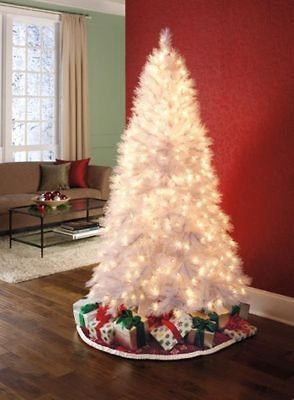 Aurora White Spruce Tree Pre Lit Clear Christmas Tree NEW