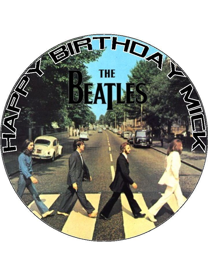 Personalised The Beatles Abbey Road Edible Icing Cake Top Topper
