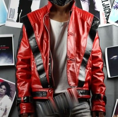 Michael Jackson Red Thriller Leather jacket Free Billie Jean