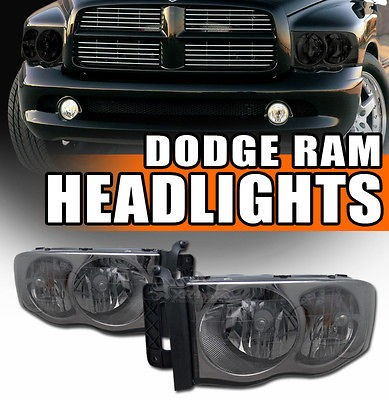 2002 2005 Dodge Ram Pickup Truck Chrome Housing Smoked Lens Headlights