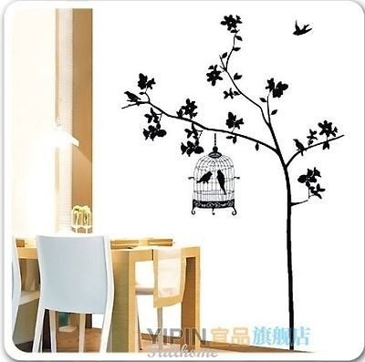 Removable Black Tree Birds Cage Wall Art Wall Decal Sticker 190*130CM
