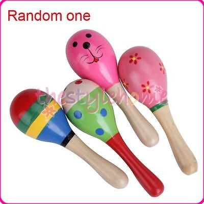 Random one Colorful Baby Kids Maraca Wooden Percussion Musical Toy