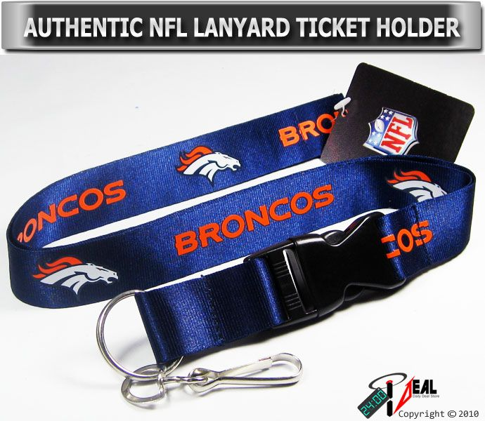 NFL Denver Broncos Official Lanyard Key Chain ID Blue