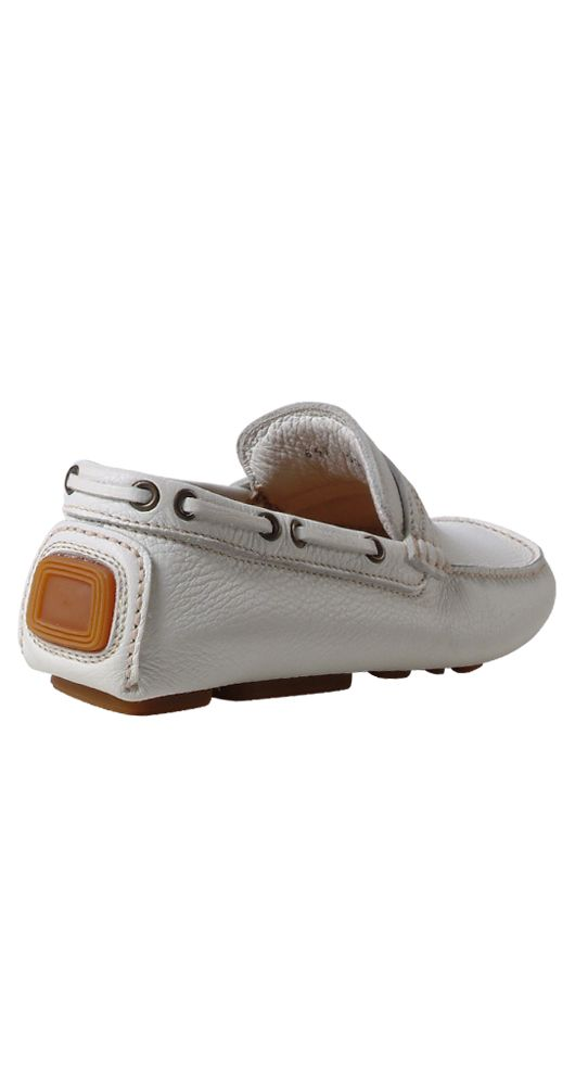 Comfortable Soft White Leather Car Shoe Loafers $510 9 5 New