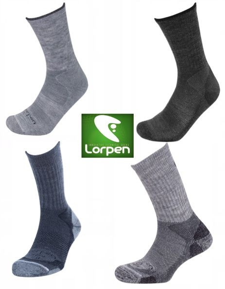 LORPEN Light Midweight Hiker Socks Merino Wool 2 Pairs M L XL Grey