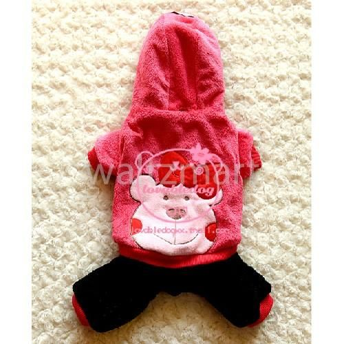 Cute Cartoon Pet Dog Apparel Winter Warm Hooded Coat Jumpsuit Clothes