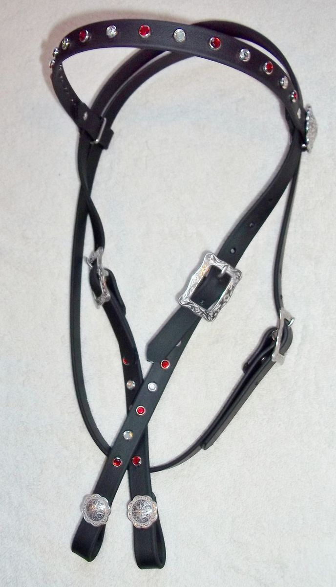 Headstall Bridle Beta Bling red clea Rhinestones horse tack barrel
