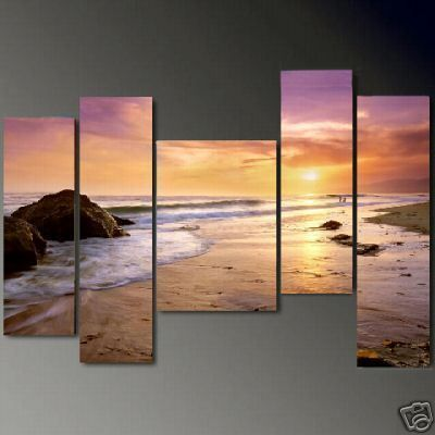 Modern Abstract Canvas Oil Painting Gold Beach No Framed H098