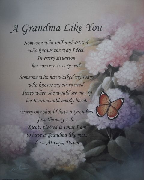Personalized Grandma Poem Lovely Birthday Christmas or Mothers Day