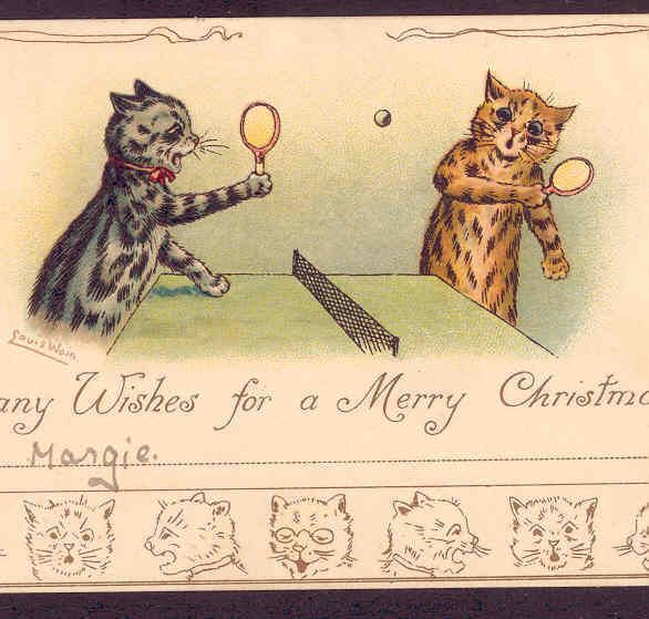 SCARCE IMAGE LOUIS WAIN CATS PLAY WILD PING PONG SPORT GAME CHRISTMAS