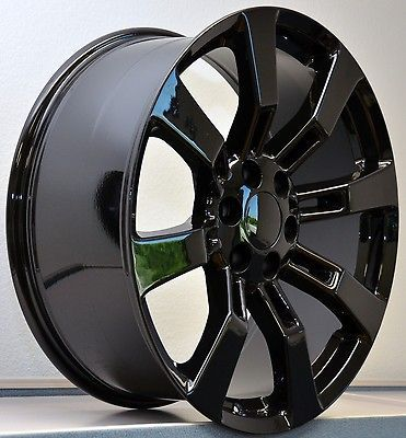 22 Tires Gloss Black Wheels Cadillac Escalade GMC Denali Rims Set