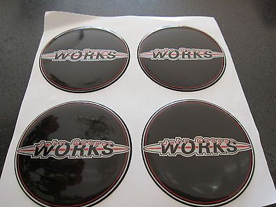 50mm john cooper works wheel centre center caps badges x4 mini black