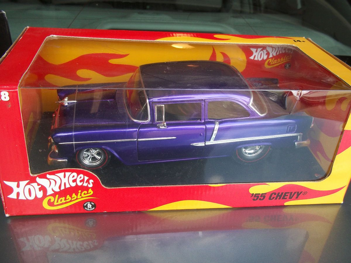 Hot Wheels Classics 55 Chevy Spectraflame Style Purple 1 18 H8769